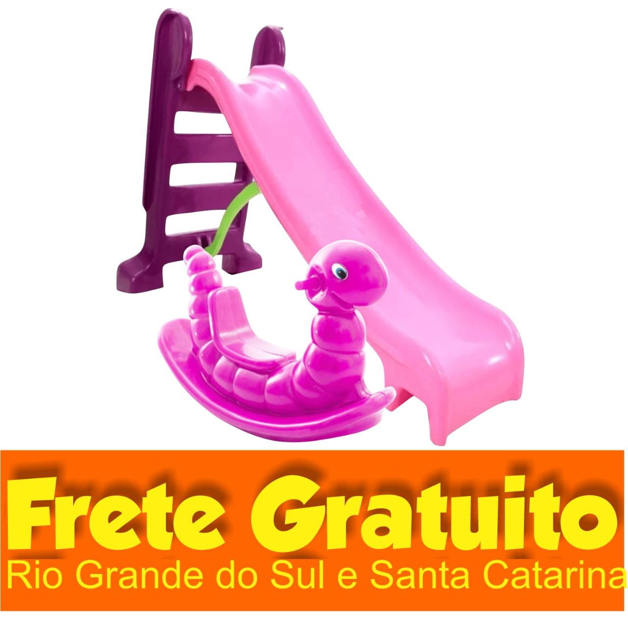 Pracinha Baby - Escorregador Infantil Médio Rosa + Gangorra Nhoca